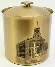 WENDEL AUGUST FORGE SOLID BRONZE ICE BUCKET.  With porcelain liner and the lid.