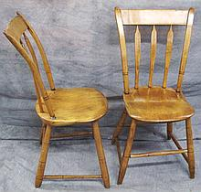 PAIR OF COUNTRY ARROW BACK SIDE CHAIRS.  With plank seats.  Ca. 1870.