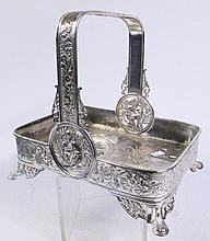 AN EXCELLENT SIMPSON, HALL & MILLER VICTORIAN SILVERPLATE BASKET.  Decorated ove