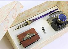 BORTOLETTI VENETIAN GLASS DESK SET.  With a glass pen inkwell and roller blotter