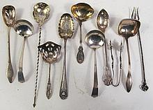 11 DAINTY STERLING SILVER SERVING SPOONS AND LADLES.  5.75 oz. troy.