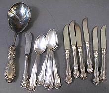 STERLING SILVER FLATWARE.  Including six teaspoons-4.80 oz. troy, six hollow han