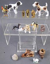 15 ASSORTED MINIATURE ANIMAL FIGURES.  Including porcelain dogs, soapstone, monk