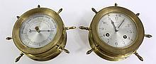 SCHATZ BRASS SHIP'S BELL 8-DAY 7J CLOCK.  With matching barometer.  6 1/2