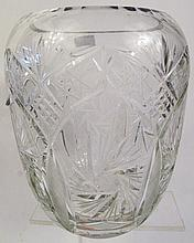 OVERSIZE BOHEMIAN CUT GLASS VASE.  With pinwheels, panels and fans.  12