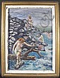 JOSEPH BIEL.  (American, 1891-1943).  Oil on board.  Nude bathers on rocks.  Signed lower right Joseph Biel.  Framed.  25 3/4