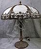 AMERICAN SLAG GLASS OVERLAY PARLOR LAMP.  24