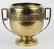 CLASSICAL BRONZE URN. With Roman frieze. Makers