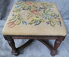 CARVED WALNUT FOOTSTOOL. With