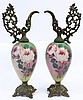 PAIR OF MANTLE GARNITURE EWERS. Metal mounted