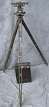 LAND SURVEYOR'S TRANSIT, TRIPOD AND FITTED CASE.