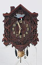 LUX CLOCK CO. MOLDED COMPOSITION NOVELTY CUCKOO