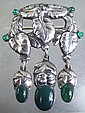 FINE EARLY GEORG JENSEN SILVER AND GREEN STONE