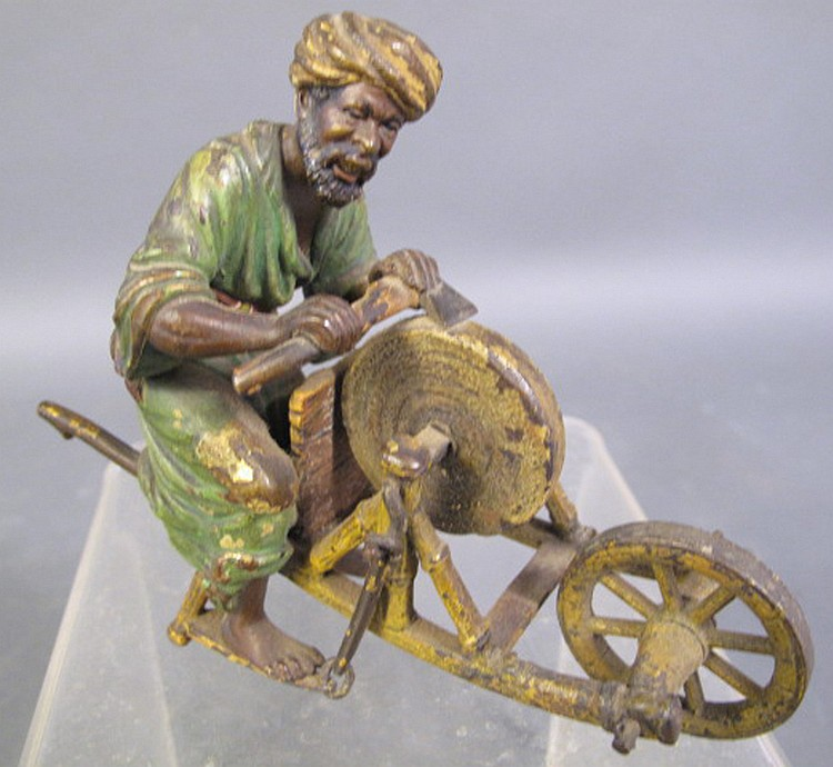 AUSTRIAN COLD PAINTED BRONZE. Arab at a grinding
