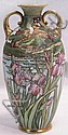 NIPPON HAND PAINTED SCENIC FLORAL HANDLED VASE.