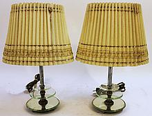 PAIR OF ART DECO DRESSER LAMPS.  In the modern style.  10