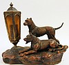 FINE FIGURAL CAININE GROUP ACCENT LAMP.  Signed J.B.H.  Patinated detailed spelt er.  Ca. 1930.  12