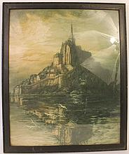 MOUNT ST.MICHEL-HIGH TIDE LITHOGRAPH.  Color.  Early 20th century.  Sight:  21 1 /2