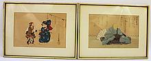 PAIR OF UNASCRIBED JAPANESE WOODBLOCK PRINTS.  Actors and a sage.  7 3/4