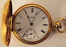 14K GOLD HUNTER CASE AMERICAN WATCH CO., WALTHAM POCKETWATCH.  Ca. 1879.  Wm. El lery, keywind and set, approx. 19/16