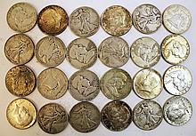 24 U.S. 90% SILVER HALF DOLLARS.  1964 and earlier.  $12.00 face value.