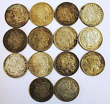14 U.S. SILVER DOLLARS.  Pre-1926.  Three Morgans 1883, 1890, 1899 and others.   (Note:  one with soldier spot).