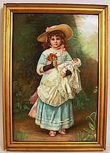 CHARMING VICTORIAN CHROMOLITHOGRAPH OF A LITTLE GIRL AND HER DOLL.  Ca. 1885.  1 4 1/2