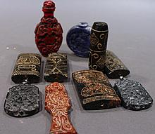 TEN ASIAN CARVED PIECES INCLUDING TWO SNUFF BOTTLES.