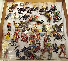 SELECTION OF METAL COWBOYS, INDIANS AND HORSES FIGURES.  Total of 63.
