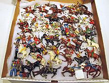 LARGE SELECTION OF COWBOYS AND INDIANS METAL FIGURES.  Total of 63.