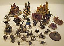 ASSORTED PEWTER FANTASY FIGURES AND CASTLES.  Total of 30.