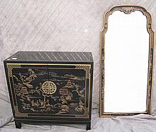 DREXEL FURNITURE BLACK LAQUERED CHINNOISERIE DECORATED TWO DOOR CABINET AND HANGING MIRROR.  Cabinet is 29 1/2