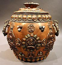 COPPER AND JEWELED STORAGE JAR.  With applied handle and images of Deitt.