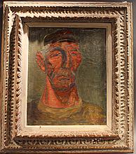 HOWARD BAER.  American, Signed lower right:  Howard Baer, '49.  Abstract expressionist style portrait of a man.  Oil on canvas.  16
