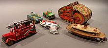 LOT OF VINTAGE TOYS.  Including six pressed metal toys.