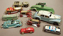 NICE LOT OF CAST IRON AND PRESSED STEEL TOY CARS.  Including metal masters, corgi (Chitty Chitty Bang Bang) and Hubley.