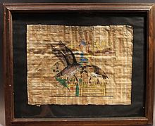 WATERCOLOR ON PAPYRUS.  Egyptian.  Tourist souvenir of Egypt, image of two geesewith entwined necks and various Hieroglyphics.  Artist signed in Arabic lower left.  Composition:  12