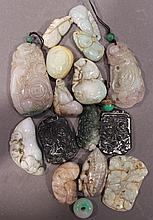ASSORTED ASIAN CARVED STONES/PIECES.  Jade?  Total of 17 pieces.