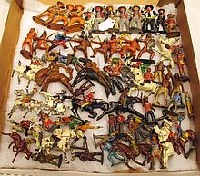 ASSORTED METAL FIGURES.  Including cowboys, Indians and horses.  Total of 63.
