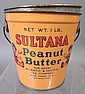SULTANA PEANUT BUTTER PAIL.  Girl and boy graphics.  Complete with lid.  Early A&P; container.  4
