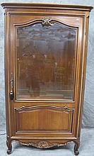 CONSOLE CABINET WITH MATCHING MIRROR. Arch top