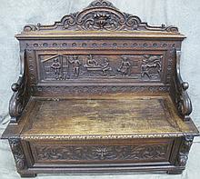 CARVED EUROPEAN HALL BENCH OR SETTLE BENCH. Scenic