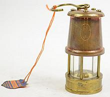 MINIATURE COAL MINER'S SAFETY LAMP. Solid brass