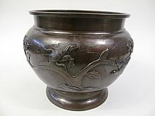 JAPANESE BRONZE FOOTED BOWL WITH BIRDS AND TREES