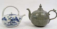 CHINESE BLUE PORCELAIN TEAPOT TOGETHER WITH AN