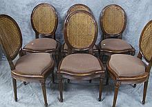 SET OF SIX FRENCH PROVINCIAL CANE BACK SIDE
