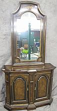 FRENCH STYLE CHERRY CURIO CABINET. With glass