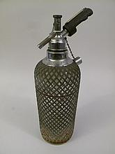 WIRE CAGED SELTZER BOTTLE. Made in Czechoslovakia