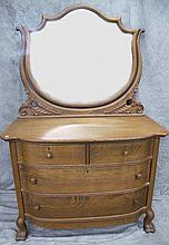 QUARTER SAWN OAK DRESSER. With claw feet and