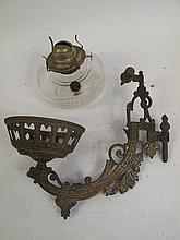 BRACKET FORM VICTORIAN HANGING OIL LAMP. 11.5